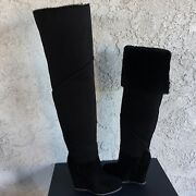 Ugg Classic Mondri Over The Knee Tall Black Suede 4 Wedge Boots Us 10 Women