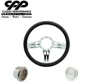 Cpp Continental Chrome Billet 14 Steering Wheel Black Lether 1/2 Wrap Hub Horn