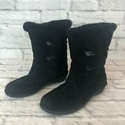 Bearpaw Abigail Grizzly Womens Size 7 Black Suede Mid Calf Sheepskin Boots I7d