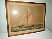 Currier And Ives Thistle Cutter Yacht America's Cup 1887 Colored Lithograph