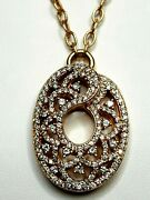Beautiful Vintage 14k Rose Gold Oval Deco Swirl Diamond Necklace 2.0+cts T.d.w.