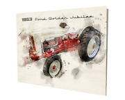 1953 Ford Golden Jubilee Farm Tractor Water Color Design 16x20 Aluminum Wall Art