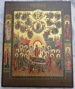 Large Antique 20c Russian Orthodox Icon Of The Dormition Of The Virgin Mary20