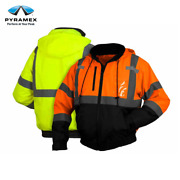 Pyramex Hi-vis Safety Reflective Bomber Jacket With Zip Out Polar Fleece Liner