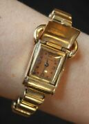 Solid 14k Yellow Gold Overton Watch Ladies Mechanical Wind Up Vintage Rubies