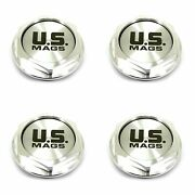 4x Us Mags Machined Silver Wheel Center Hub Caps Gloss Silver Logo 4 Screw-in