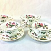 Wedgwood Charnwood Set 4 Cream Soup Bowl Saucers Blk Stamp Butterfly Bee England