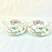 Wedgwood Charnwood Set 2 Cream Soup Bowl Saucers Blk Stamp Butterfly Bee England