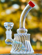 Tilted Neck Wigwag Bong Glass Water Pipe Cool Hookah Unique Bubbler Usa