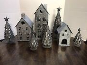 Pottery Barn Galvanized Small Large House Christmas Trees Lot 8 Pieces Village