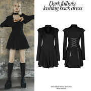 Punk Women's Gothic Long Sleeve Dresses Sexy V Neck Knit Ruffle Casual Dresses