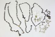 Antique Rosary Necklace Wood Beads Medals Mother Of Pearl Cross Medallions Parts