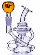 Helix 3 Arm Recycler Glass Water Pipe Bong Clear Bubbler Cool Hookah Usa