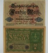 1914-1919 Germany 2-note Currency Set // German Empire 50 Mark Banknotes
