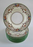 Minton Shaftesbury Green Floral Scroll 6 1/4 Bread And Butter Plates Set 10