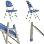 Blue Plastic Seat With Fan Back Stackable Outdoor Safe Folding Chair Set Of 4