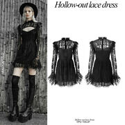 Womenand039s Black Hollow-out Lace Dress Gothic Irregular Lotus Leaf Edge Sexy Dress
