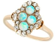 Antique 0.22ct Opal And 0.30ct Diamond, 14k Yellow Gold Dress Ring