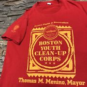 Boston Clean Up Corps T Shirt Mens Medium Adult Red Vintage 80s Community Mass