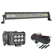Osram 10d Quad Row Led Light Bar 20inch Driving +2x 4inch Cube Pods With Wiring