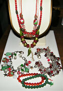Lot 7 Vintage Blown Glass Christmasholiday Jewelry Necklaces And Bracelets Ex