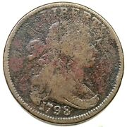 1798 S-156 R-5 Rev Of 96 Draped Bust Large Cent Coin 1c