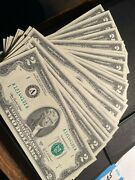 25 Two Dollar Bills Uncirculated Consecutive Lot Fifty Dollars