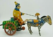 Great Vintage 1920s Clown And Donkey Cart Wind-up Tin Toy