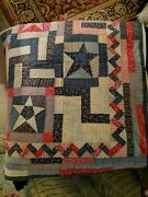 Quilted Patch Work Blanket 82x82 Vintage From 1945