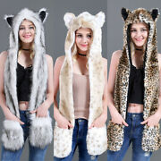 Hat Gloves Gift Fashion 3in1 Hood Paws Women Mittens Scarf Animal Ears Faux Fur