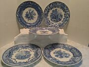 """Set Of 5 Spode Blue Room Collection Plates Floral Blue And White England 10 1/2"""""""