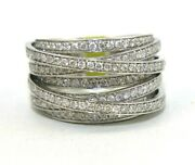 Natural Round Diamond Bypass Criss Cross Cluster Ring Band 14k White Gold 1.78ct