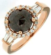 2.05ct White And Chocolate Fancy Diamond 14kt Rose Gold Round Halo Engagement Ring