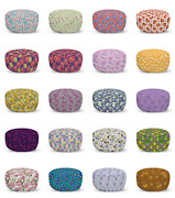 Ambesonne Floral Folk Ottoman Pouf Decor Soft Foot Rest And Removable Cover