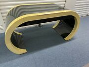 1970and039s Modern Black And Ecru Waterfall Desk From Directional