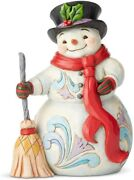 Enesco Jim Shore Heartwood Creek Snowman With Broom And Scarf Figurine, 8.5 Inch