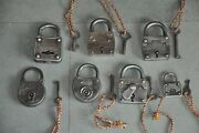 7 Pc Old Iron Different Shape Fine Quality Handcrafted German Padlocks