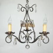 Authentic Old Frenchandnbspwrought Iron And Tole Chandelier Amber Crystal Prisms