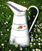 Vintage French Art Deco White Painted Enamel Enamelware Body Pitcher Red Flowers