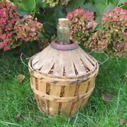 """Vintage French Provencal Glass Demijohn """"bonbonne"""" Wine Bottle In Wood And Straw"""