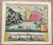 Barcelona Spain By Matheus Seutter 1730 Very Unusual Large Antique View And Plan