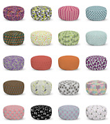 Ambesonne Abstract Polygon Ottoman Pouf Decor Soft Foot Rest And Removable Cover