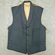 Rare Period Vintage 1920s Edwardian Victorian Menand039s Lined Wool Waistcoat Vest