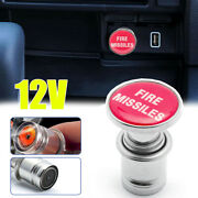 Universal Red Fire Missiles Push Button Plug Cover Car Lighter Accessories