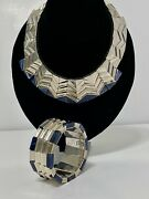 Monteros Mexican Sterling Silver Lapis Statement Necklace And Bracelet - Awesome