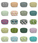 Ambesonne Leaves Motif Ottoman Pouf Decor Soft Foot Rest And Removable Cover