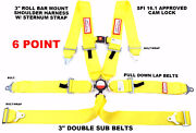 Yellow Six Point Racing Harness Sfi 16.1 With Chest Strap 3 Cam Lock