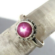 Beautiful Natural Star Ruby Gemstone Ring - Sterling Silver Size 9