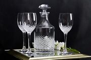 Clear Crystal Hand Cut Swirl Design Wine Decanter And Matching Glasses