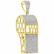 14k Yellow Gold Coach 3d Whistle Pendant 0.75ct Real Diamond For Christmas Gift
